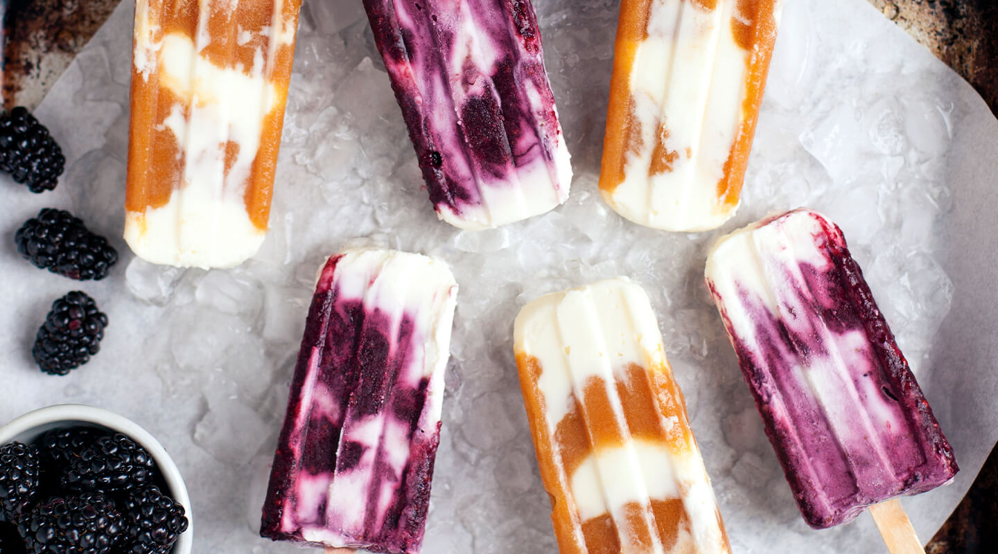 Creamy Mascarpone and Fruit-Ice Popsicles