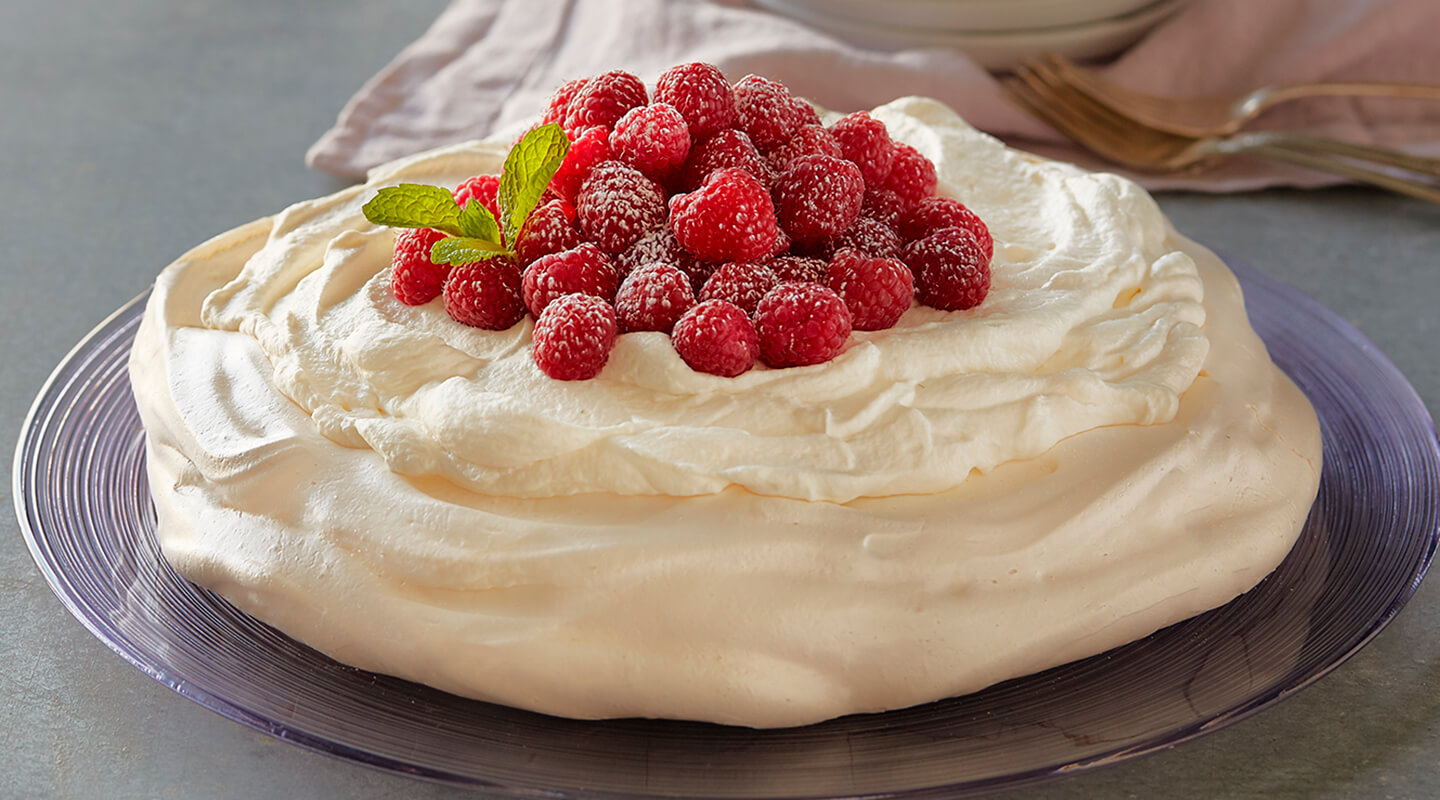 Berry Pavlova with Mascarpone Whipped Cream