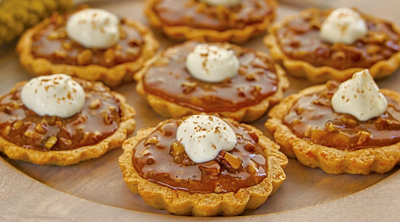 Caramel Pecan Tarts with Parmesan-Walnut Crust