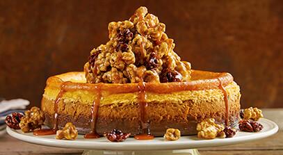 Pumpkin Ricotta Cheesecake with Caramel Corn Topping