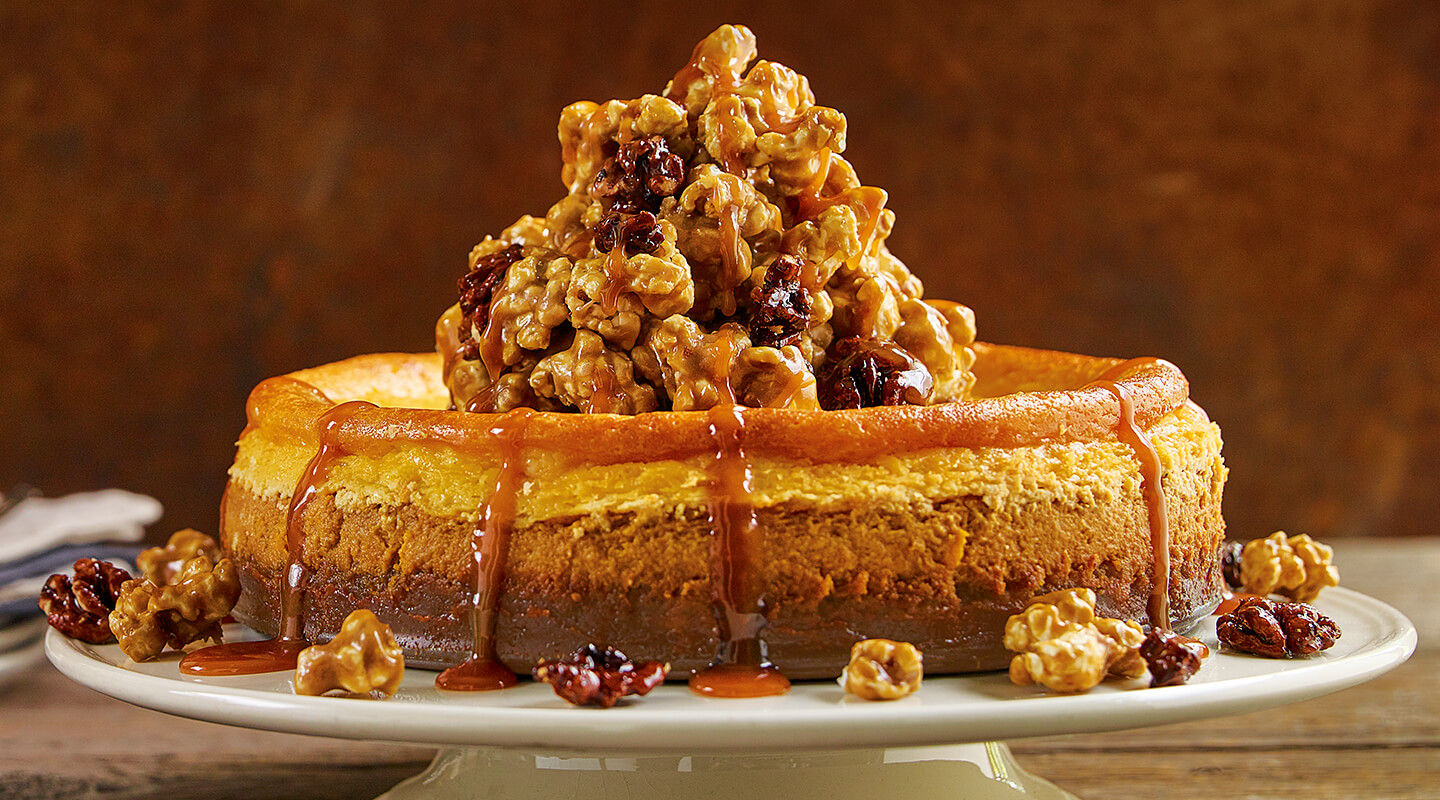 Wisconsin Cheese Pumpkin-Ricotta Cheesecake with Caramel Corn Topping Recipe