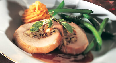 Pork Loin with Dried Plums (Prunes), Apples and Muenster