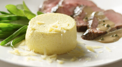 Parmesan Flan with Strauss Free Raised Veal and Brandy-Peppercorn Sauce