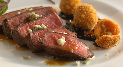 Seared Sherry Ribeye with Blue Cheese Croquettes and Chile Ancho Jam