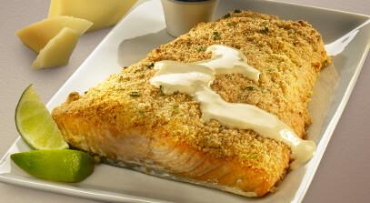 salmon with parmesan horseradish crust and dijon cream