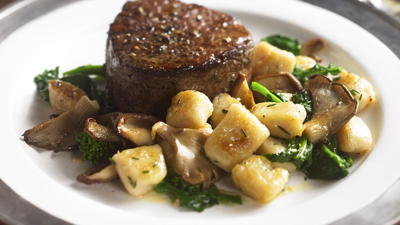 Seared Fillet of Beef with Porcini and Gorgonzola Gnocchi
