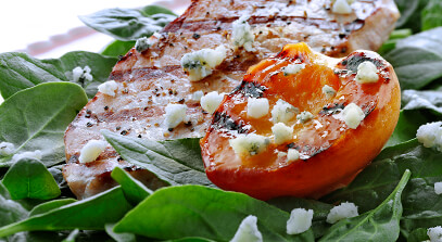 Pork Chops with Grilled Peaches and Blue Cheese