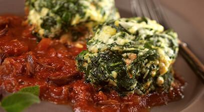 Spinach Ricotta Dumplings with Grandma's Gravy