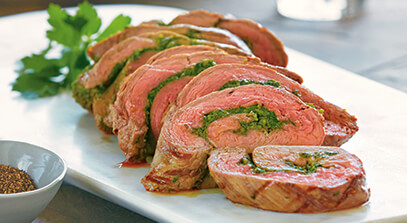 Steak Roulade with Swiss Chard and Asiago Pesto