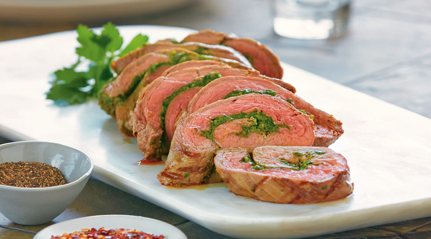 Wisconsin Cheese Steak Roulade with Swiss Chard and Asiago Pesto Recipe