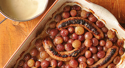 Roasted Sausage and Grapes with Swiss Fondue Sauce
