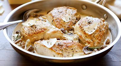 Asiago Chicken and Mushroom Skillet