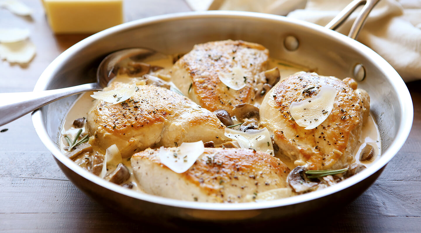Wisconsin Cheese Asiago Chicken and Mushroom Skillet Recipe