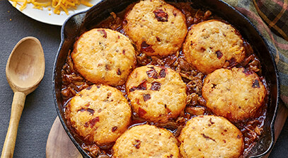 Chicken Chili Bake with Chipotle Cheddar Biscuits
