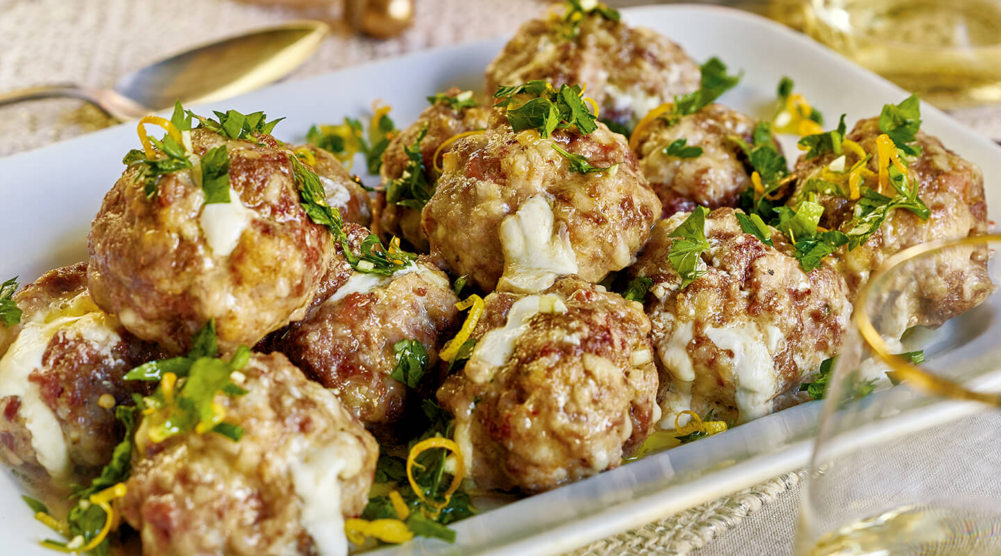 Wisconsin Cheese Burrata-Stuffed Meatballs with Gremolata Recipe