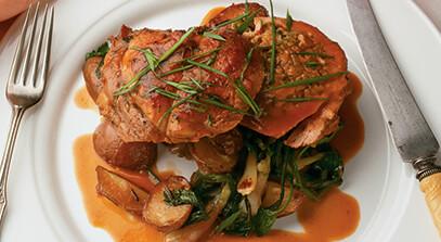 roasted boneless veal chop stuffed with artichoke, swiss