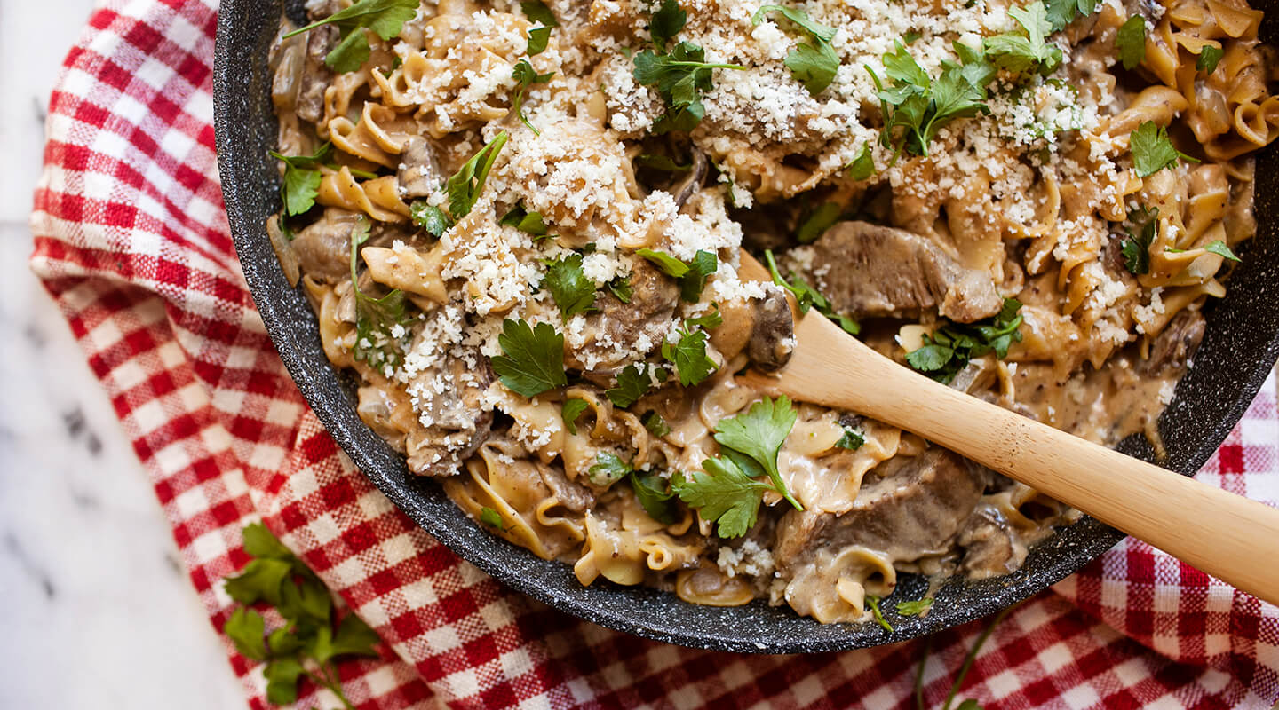 Wisconsin Cheese Asiago and Mushroom Beef Stroganoff recipe