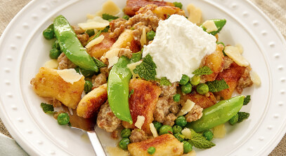 Gnocchi with Peas, Sweet Italian Sausage and Ricotta