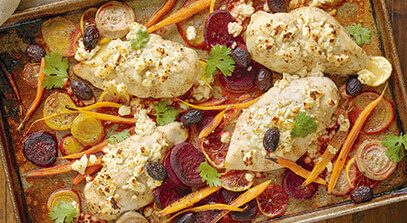 Moroccan Sheet Pan Chicken and Vegetables with Feta