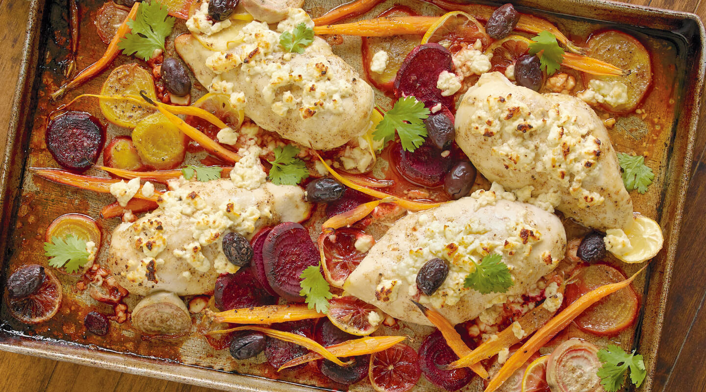 Moroccan Sheet-Pan Chicken and Vegetables with Feta
