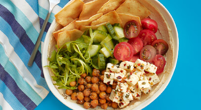 Hummus Bowl with Marinated Feta and Roasted Chickpeas