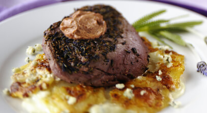 Seared Black Pepper-Lavender Filet of Beef with Red Wine Butter and Gorgonzola Potato Gratin
