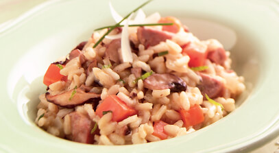 Calabaza, Mushroom and Sausage Risotto with Asiago Cheese