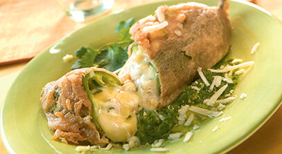 Chiles Rellenos with Cheese and Smoked Chicken