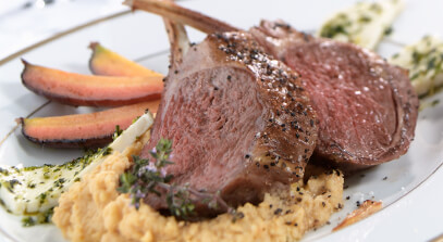 Roasted Rack of Lamb, Mint Marinated Feta and Carrots