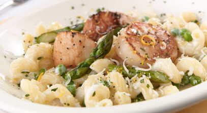 Pan-Roasted Scallops with Truffles, White Cheddar