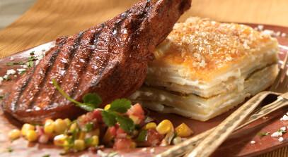 Pork Porterhouse with Cheese and Corn Salsa