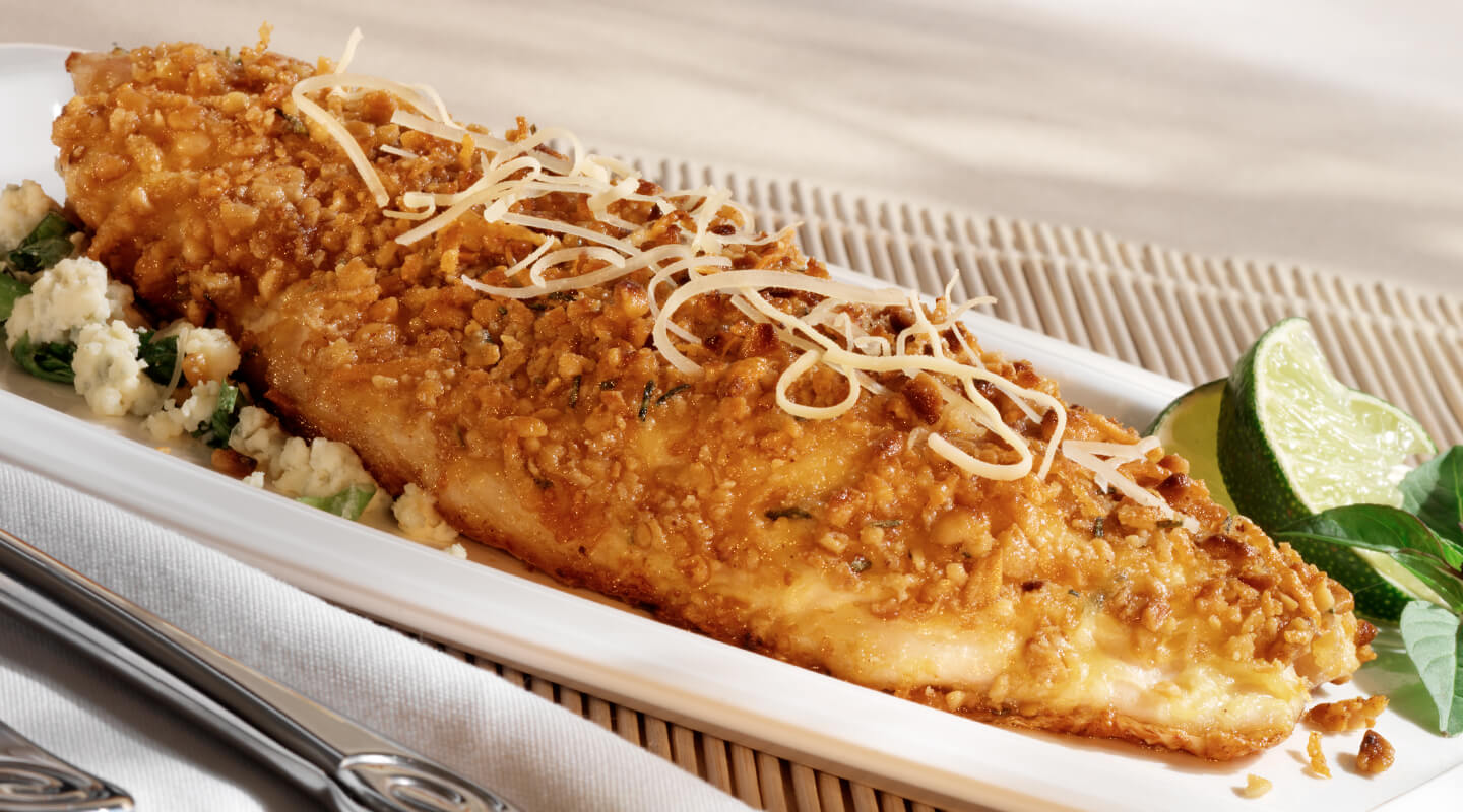 Pine Nut-Crusted Snapper with Parmesan