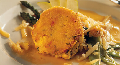 potato cake with crab and raclette cheese
