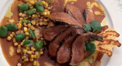barbecued long island duck breast with monterey jack spoon bread and asiago cheese sticks