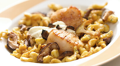 Seared Sea Scallops with Herbed Spaetzle, Matsutake Mushrooms and Truffled Mascarpone