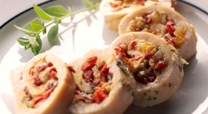 Chicken Roulades with Provolone and Peppers
