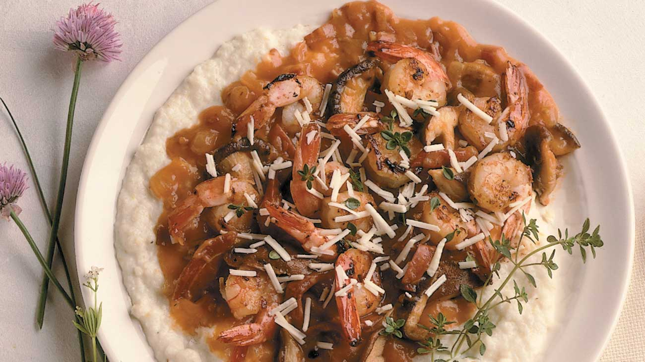 Southern Fried Asiago Grits with Shrimp, Country Ham and Red-Eyed Gravy