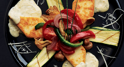 Asiago Polenta, Gorgonzola Cream and Grilled Vegetables