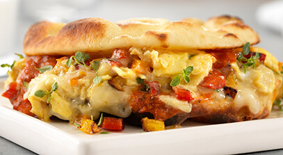 Flatbread Egg Sandwich with Italian Cheese