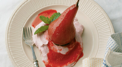 Pear Poached in Zinfandel with Ganache and Raspberry Mascarpone