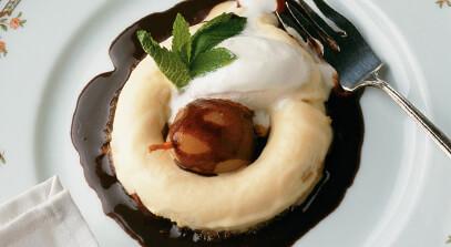 mascarpone savarin with pears and chocolate sauce