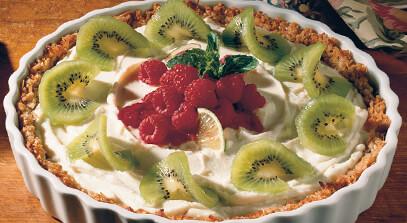 ricotta tart with kiwi raspberry sauce