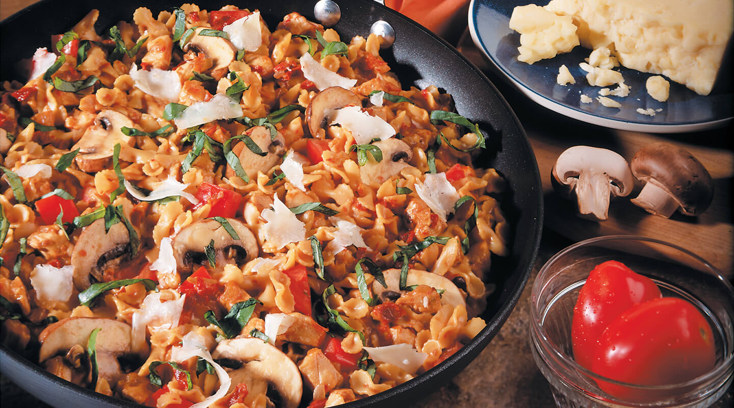 Wisconsin Cheese Asiago-Chicken Pasta Skillet Recipe