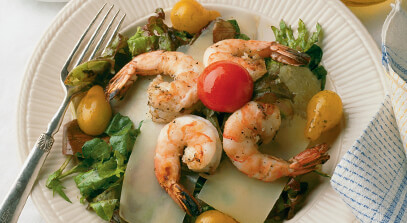 Jerked Prawns with Parmesan Shavings