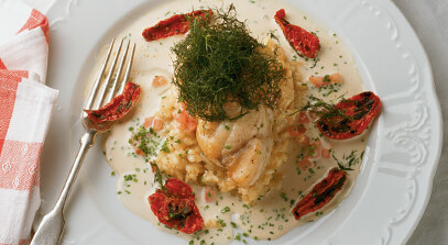 roasted monkfish osso bucco with fontina and tomato risotto