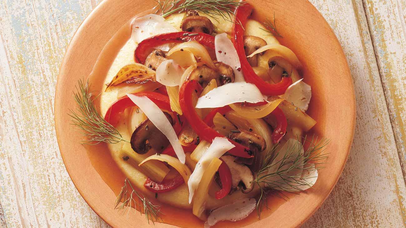 Polenta with Asiago and Sautéed Vegetables