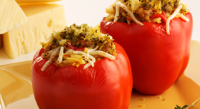 Italian Sausage-Stuffed Peppers with Provolone Cheese