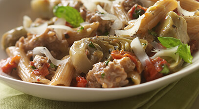 Italian Sausage Artichoke Pasta with Parmesan Cheese