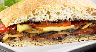 Eggplant and Bread Cheese Sandwich with Black Olive Pesto