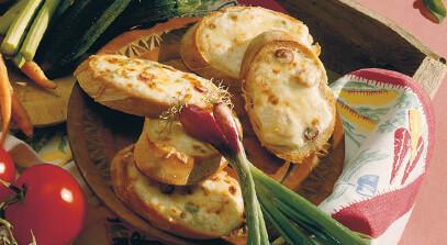 Swiss and Parmesan Bruschetta